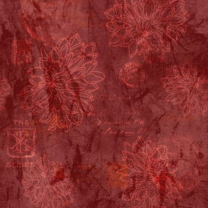 19-13o Batik Floral Stamps Wine Cranberry Red maroon