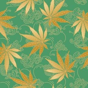 Golden Cannabis, Hemp, or Marihuana leaves