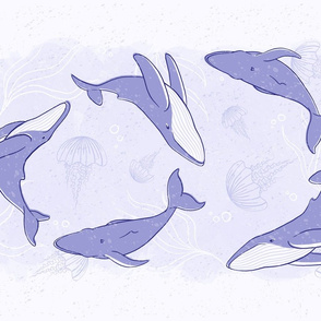 Humpback Whale Tea Towel in Indigo