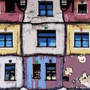 windows of the Hundertwasser's house in Vienna