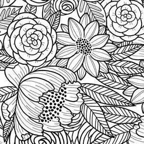 floral linework - large scale - black