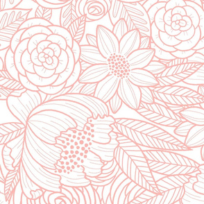 floral linework - large scale - blush