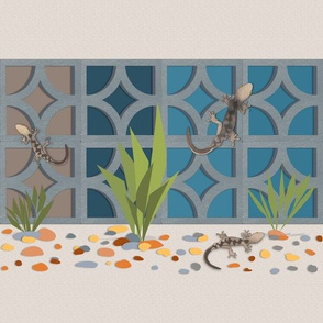 Geckos among the breeze blocks - blue panels