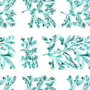 Mint christmas • watercolor emerald xmas tree branch