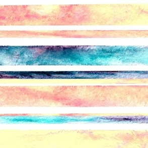 Watercolor Stripes - Pastel (Large Horizontal Version)