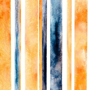 Watercolor Stripes - Orange & Navy (Large Vertical Version)