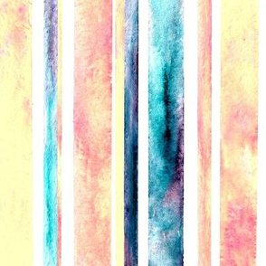 Watercolor Stripes - Pastel (Large Vertical Version)