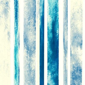 Watercolor Stripes - Blue (Large Vertical Version)