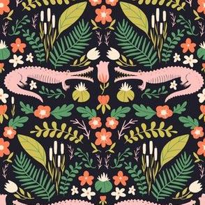 Pink Croc Floral - Navy