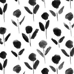 Noir bloom • watercolor florals