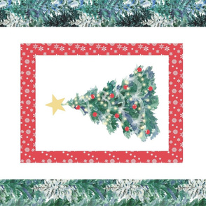 We Wish you a Merry Christmas tea towel red green