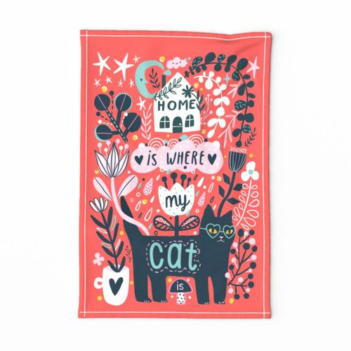 Home is where my cat is. Pet animal design tea towel. Flowers and black cat