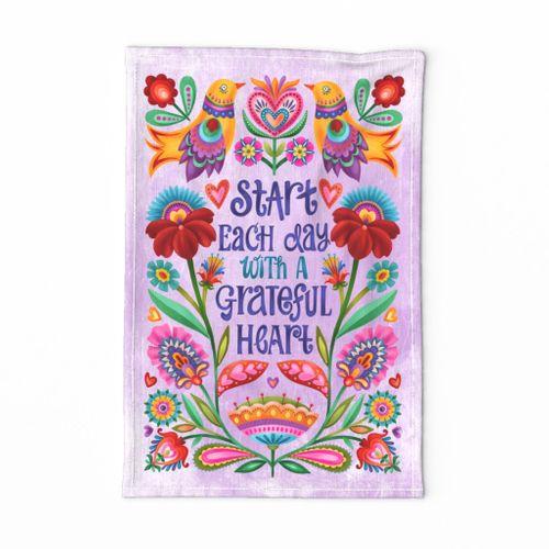 Grateful Heart tea towel