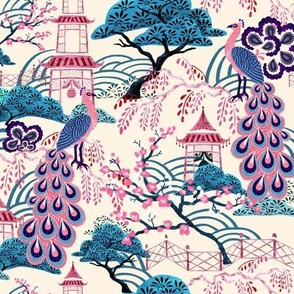 Pink Peacock Chinoiserie - Beige
