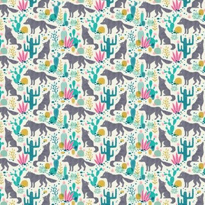 Wolf in the cactus desert turquoise/pink (mini)