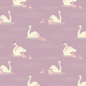 Swan Pond with Lemna on Lilac seamless pattern background.