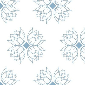 Geometry and Water Lilies Lineart seamless pattern background.