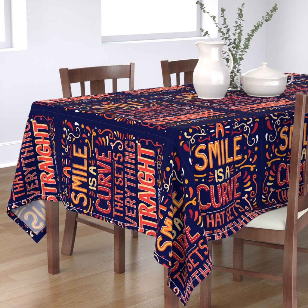 Bantam Rectangular Tablecloth featuring A smile by mobijo