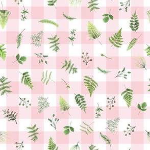 "13"" Woodland Animals - Little green leaves on pink-white gingham"