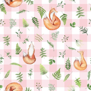 "13"" Woodland Animals - Little Fox on pink-white gingham"