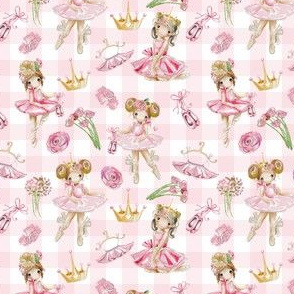 "13"" Nursery for little Ballerinas on pink  - white gingham 2"