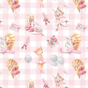 "13"" Nursery for little Ballerinas on pink  - white gingham 3"