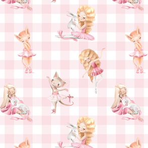 "13"" Nursery for little Ballerinas on pink  - white gingham"