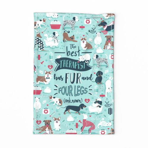 Tea towel scale // The best therapist has fur and four legs cats and dogs quote // aqua background red details