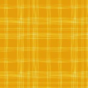 Orange yellow freehand check pattern
