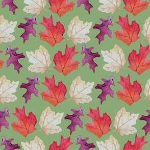 Falling Leaves Print #2-Green