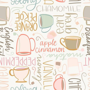 Tea Party - handlettered types of tea with teacups