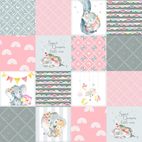 Pink Elephant Quilt Fabric – Baby Girl Patchwork Cheater Quilt Blocks - A
