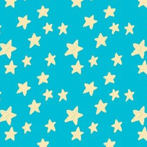 Pale Yellow Stars on Teal Blue