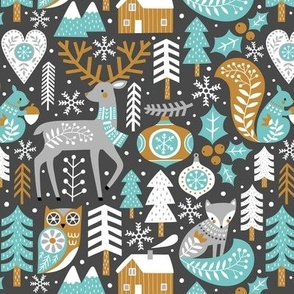 Scandinavian Christmas / Dark Grey / Small Scale