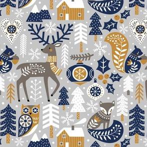 Scandinavian Christmas / Light Grey / Small Scale