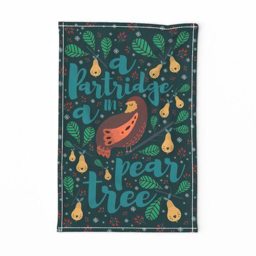 A partridge in a pear tree (tea towel)