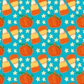 Candy Corn Pumpkins Stars on Teal Blue