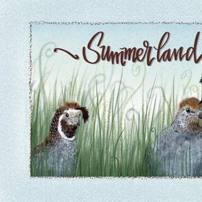 Summerland Quail tea towel