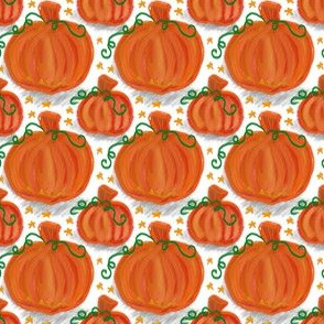 Fall Pumpkins and Stars on White