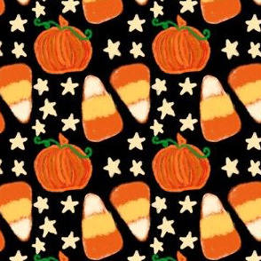 Candy Corn and Stars on Black