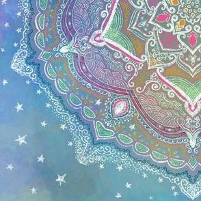 Project 446 | Delicate Mandala on Blue Watercolor