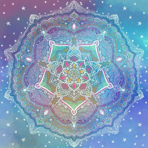 Starry Mandala on Blue Watercolor