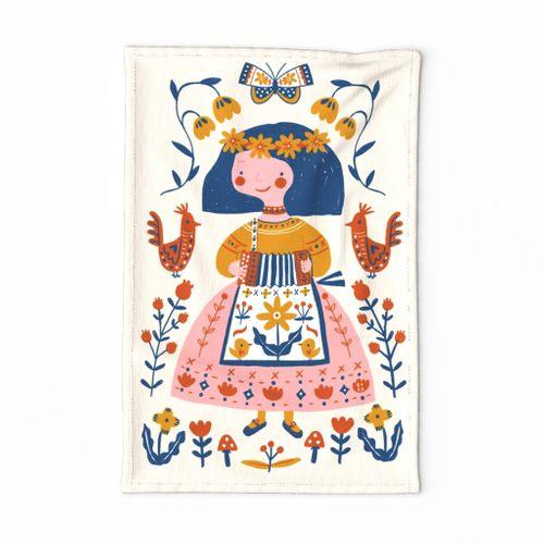 Accordeon Girl for linnen cotton