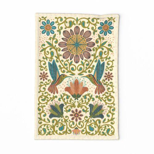 Enchanted Hummingbirds- Folk Art Tea Towel
