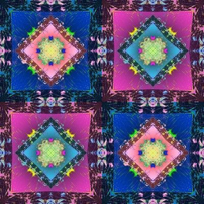 Hibiscus Blanket in Pink and Blue