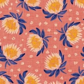 "African King Protea (coral-mauve linen) 8"""