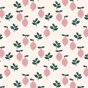 Sweet lemon lovers botanical abstract minimal lime juice Scandinavian lemonade girls pink forest green SMALL