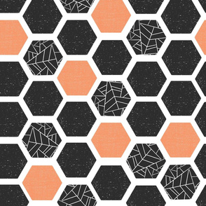 Mid-century Screenprint Hexagons