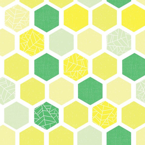 Mod Screen Print Lime And Green Hexagons