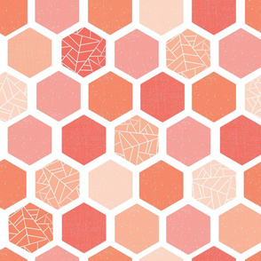 Mid-century Screen Print Hexagon Shapes Coral Pink